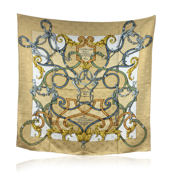 Hermes Paris Silk Jacquard Scarf L'Instruction Du Roy 1993 D'Origny