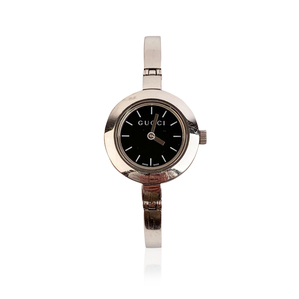 Gucci Stainless Steel Mod 105 Wrist Watch Black Dial