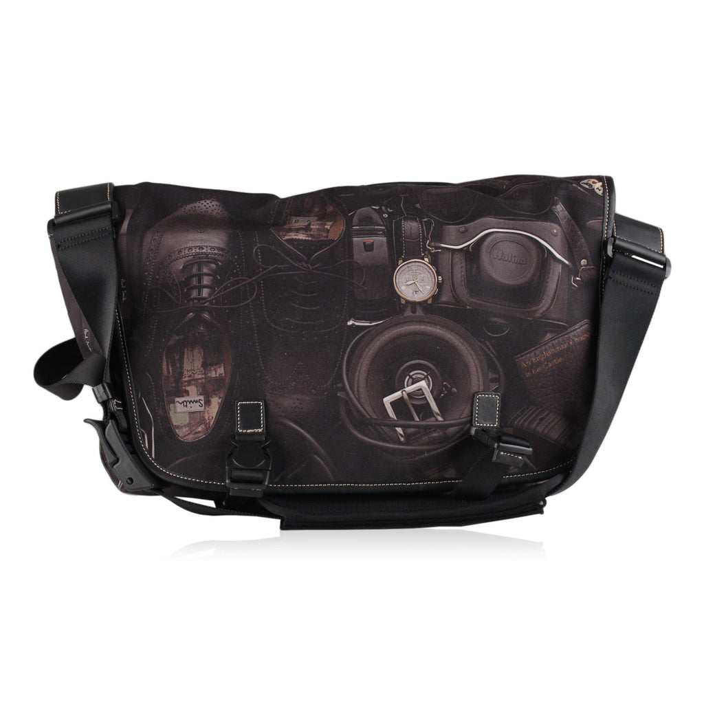 Printed Canvas Crossbody Messenger Bag