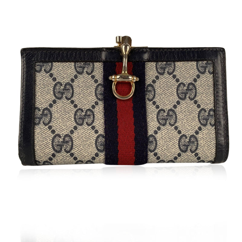 Gucci Vintage Monogram Canvas Wallet with Stripes