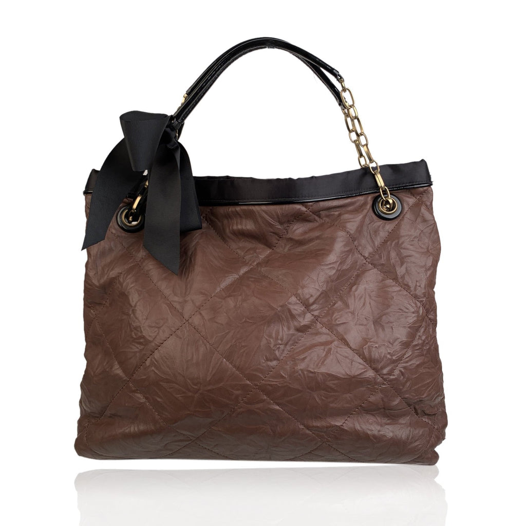 Lanvin Brown Soft Quilted Leather Large Amalia Tote Shoulder Bag - OPHERTY & CIOCCI