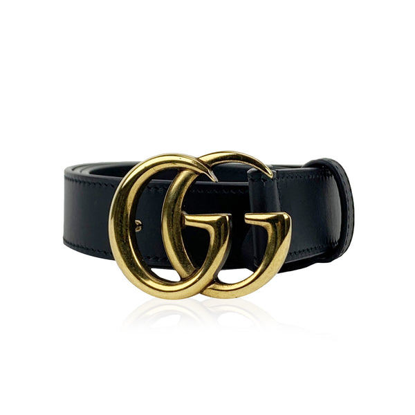 Gucci Black Leather Marmont Belt with GG Buckle Size 80/32 Never Worn