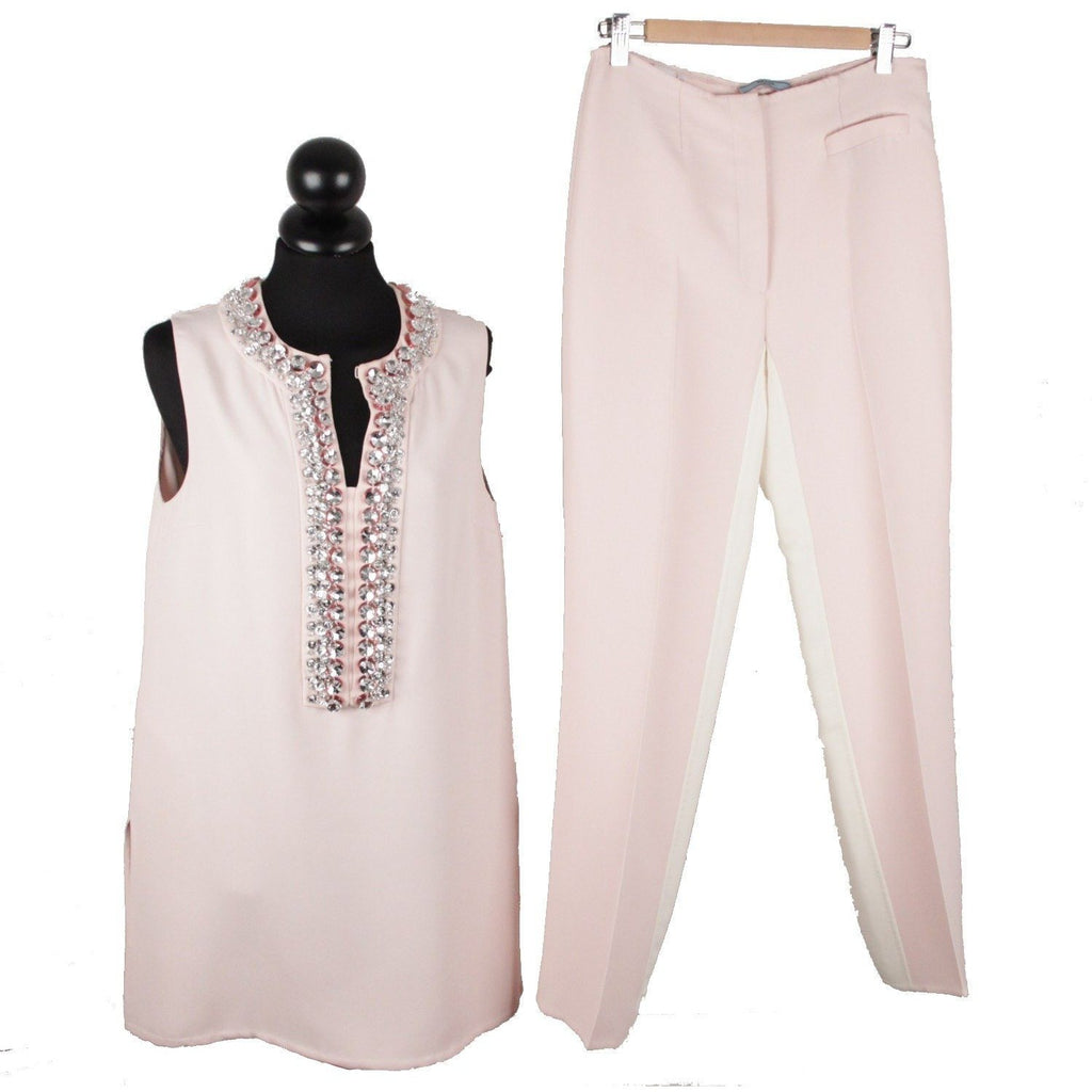 Prada Pink Embellished Sleeveless Tunic and Pants Set Size 40