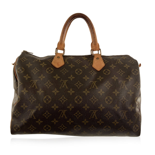 Louis Vuitton Vintage Brown Monogram Canvas Speedy 35 Bag Handbag