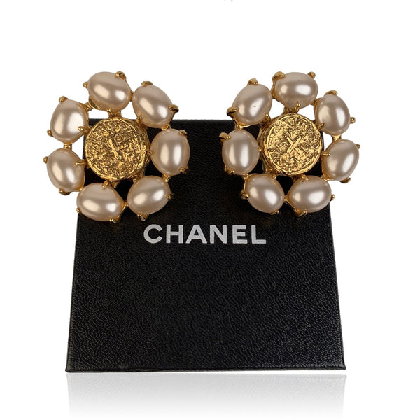 Chanel Vintage Gold Metal and Glass Pearls Cabochons Clip On Earrings
