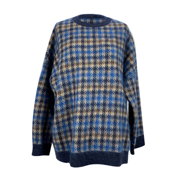 Stella McCartney Blue Check Wool Oversized Sweater Size 40 IT