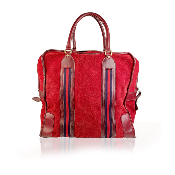 Gucci Vintage Red Suede Weekender Travel Bag with Stripes