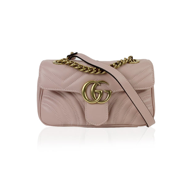 Gucci Mini GG Marmont Matelassè Pink Leather Crossbody Shoulder Bag