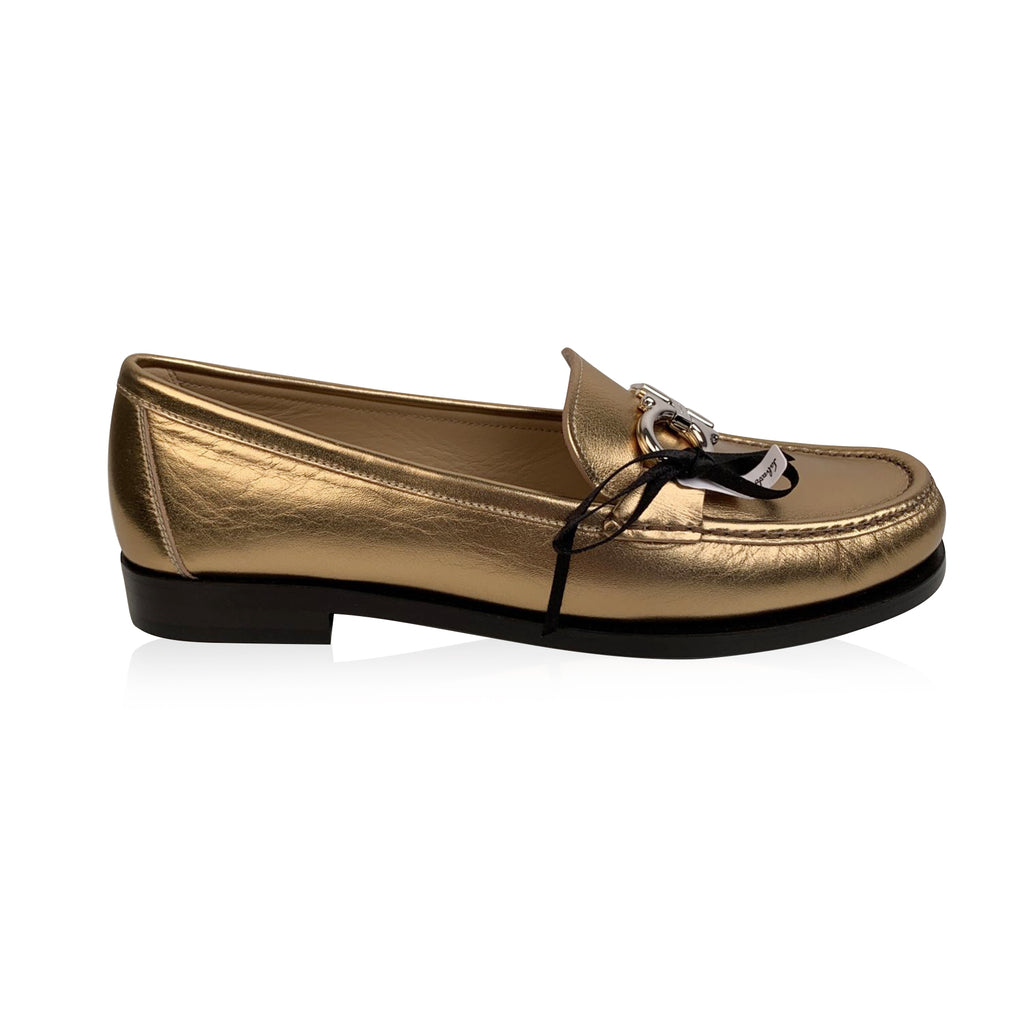 Salvatore Ferragamo Gold Leather Rolo Loafers Moccassins Size 7C 37.5C