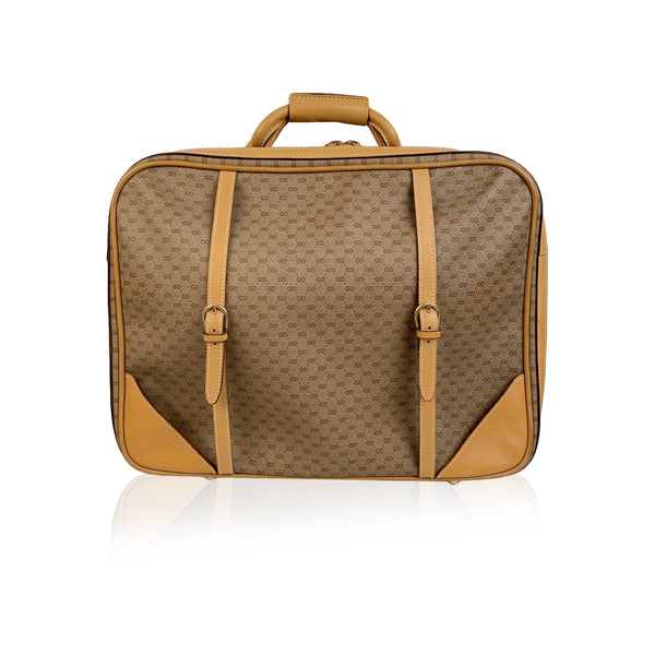 Gucci Vintage Beige Monogram Canvas Cabin Size Suitcase Travel Bag