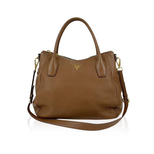 Prada Brown Vitello Daino Leather Tote Shoulder Bag BR4992