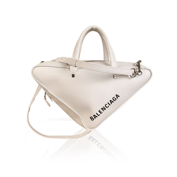 Balenciaga White Leather Triangle Duffle S Small Shoulder Bag