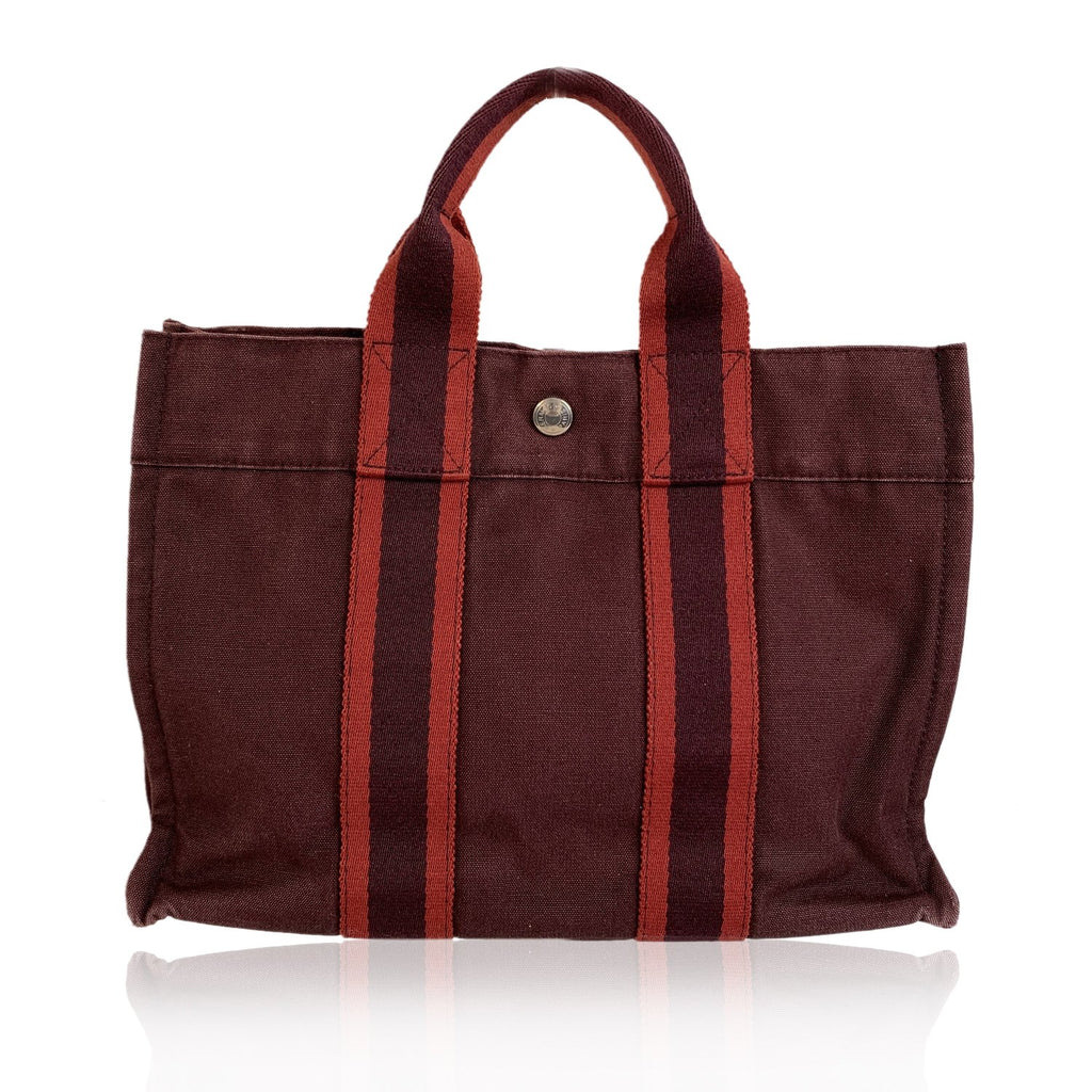 Hermes Paris Vintage Burgundy Cotton Fourre Tout PM Tote Bag