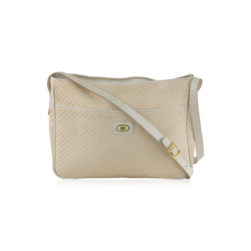 Emilio Pucci Vintage Ivory Canvas Messenger Bag