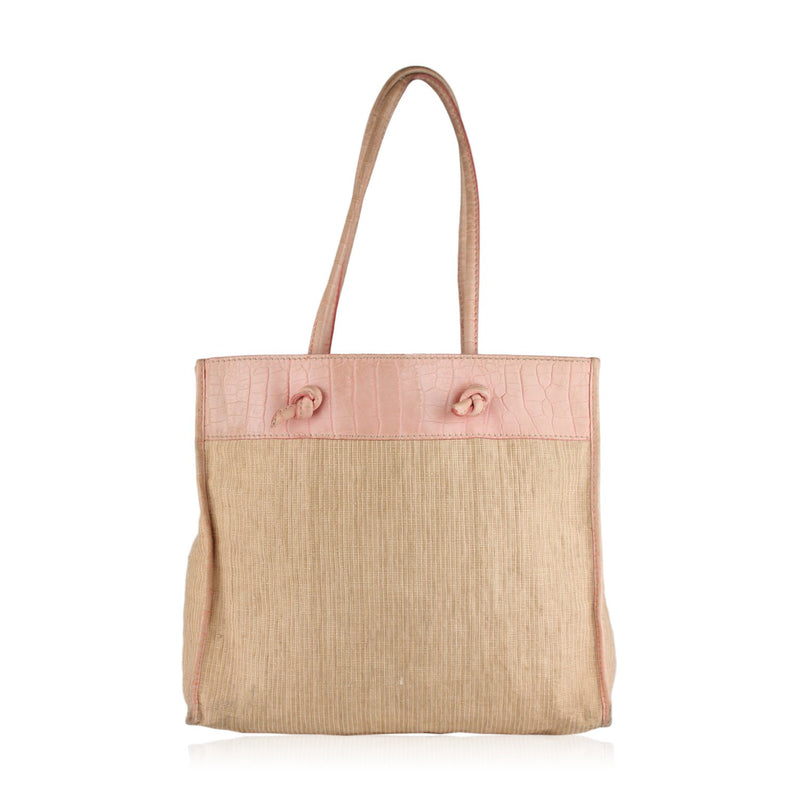 Canvas Tote with Embossed Croc Look Trim