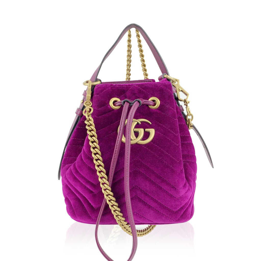 Gucci Purple Velvet GG Marmont Matelasse Drawstring Bucket Bag