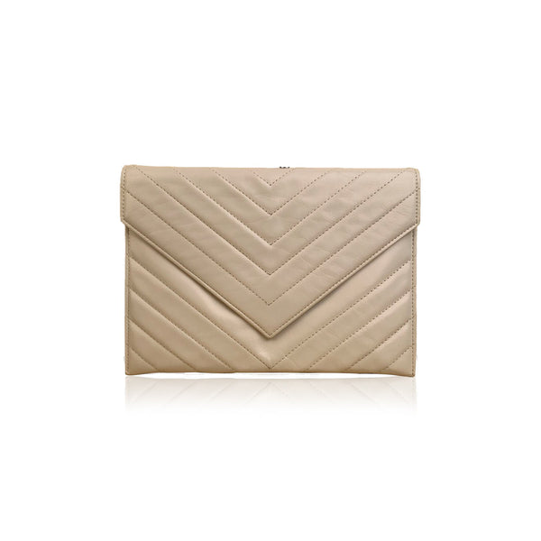 Yves Saint Laurent Vintage White V Quilted Leather Small Clutch Bag