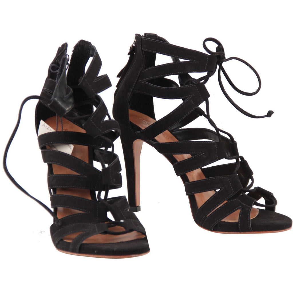 Alexandra Roma Black Suede Lace Up Strappy Heeled Sandals Shoes 39 - OPHERTY & CIOCCI