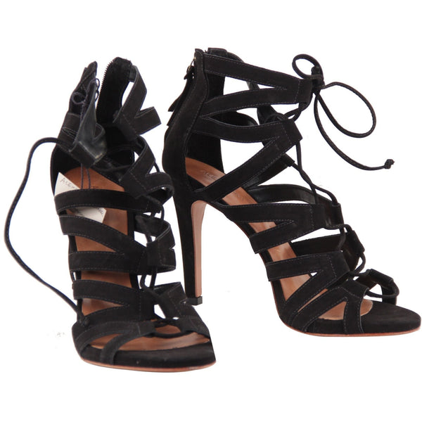 Alexandra Roma Black Suede Lace Up Strappy Heeled Sandals Shoes 39