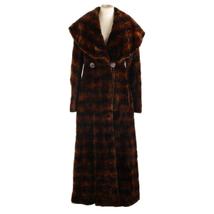 Fendi Fendi Brown Mole Fur Double Breasted Large Collar Long Coat