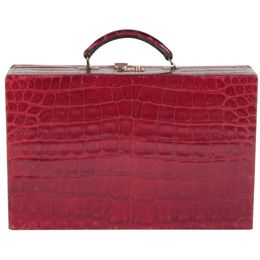 Valextra  Vintage Burgundy Crocodile Jewelry Case Bag