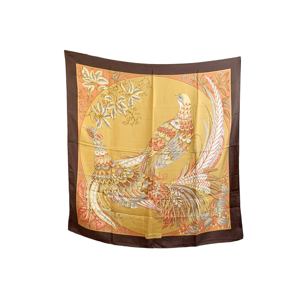 Salvatore Ferragamo Vintage Silk Scarf Orange Birds Design