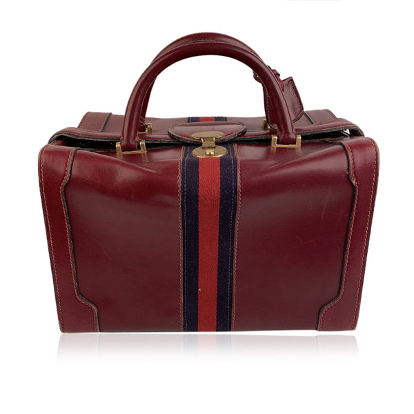 Gucci Vintage Burgundy Leather Travel Bag Train Case Beauty Handbag