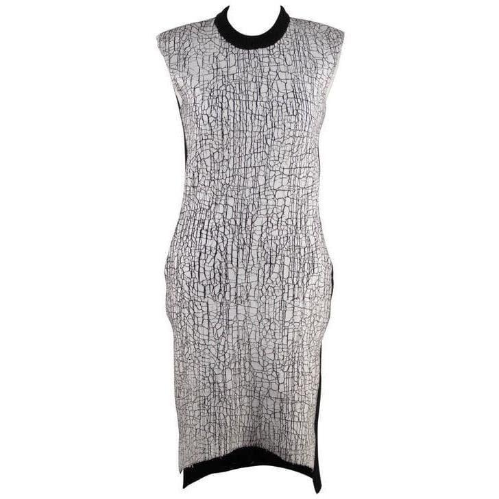 Balenciaga Black Wool Blend Crackled White Paint Detail Knit Dress 38 Opherty & Ciocci
