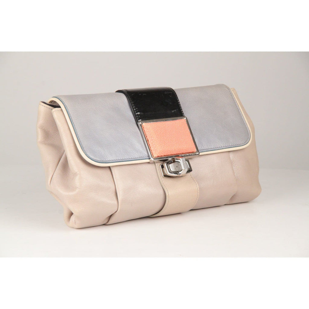 Balenciaga Gray Leather Cherche Midi Clutch Bag Opherty & Ciocci