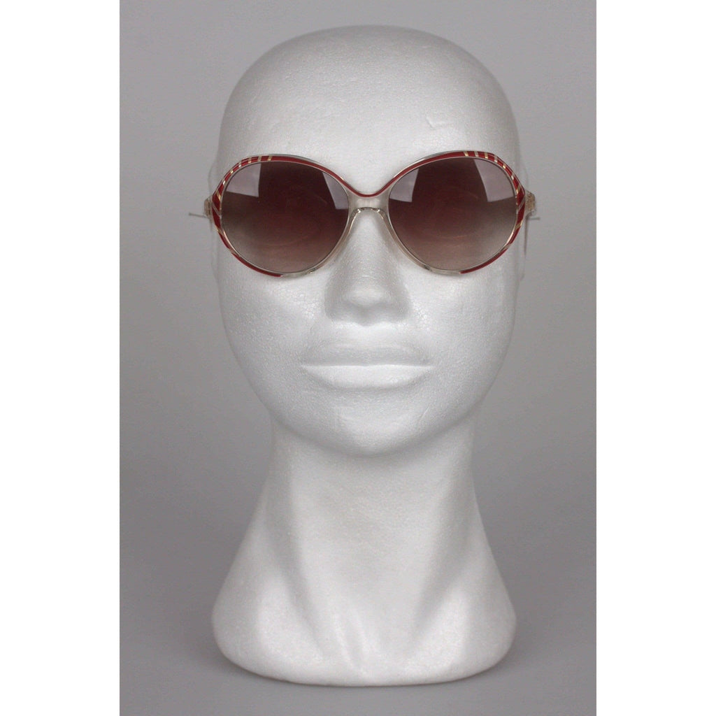 Balenciaga Vintage Sunglasses 2708-Br 55Mm Red W/ Stripes Opherty & Ciocci