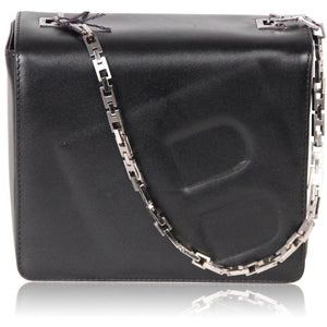 Bally Black Leather Box Shoulder Bag W/ Embossed B Letter Opherty & Ciocci