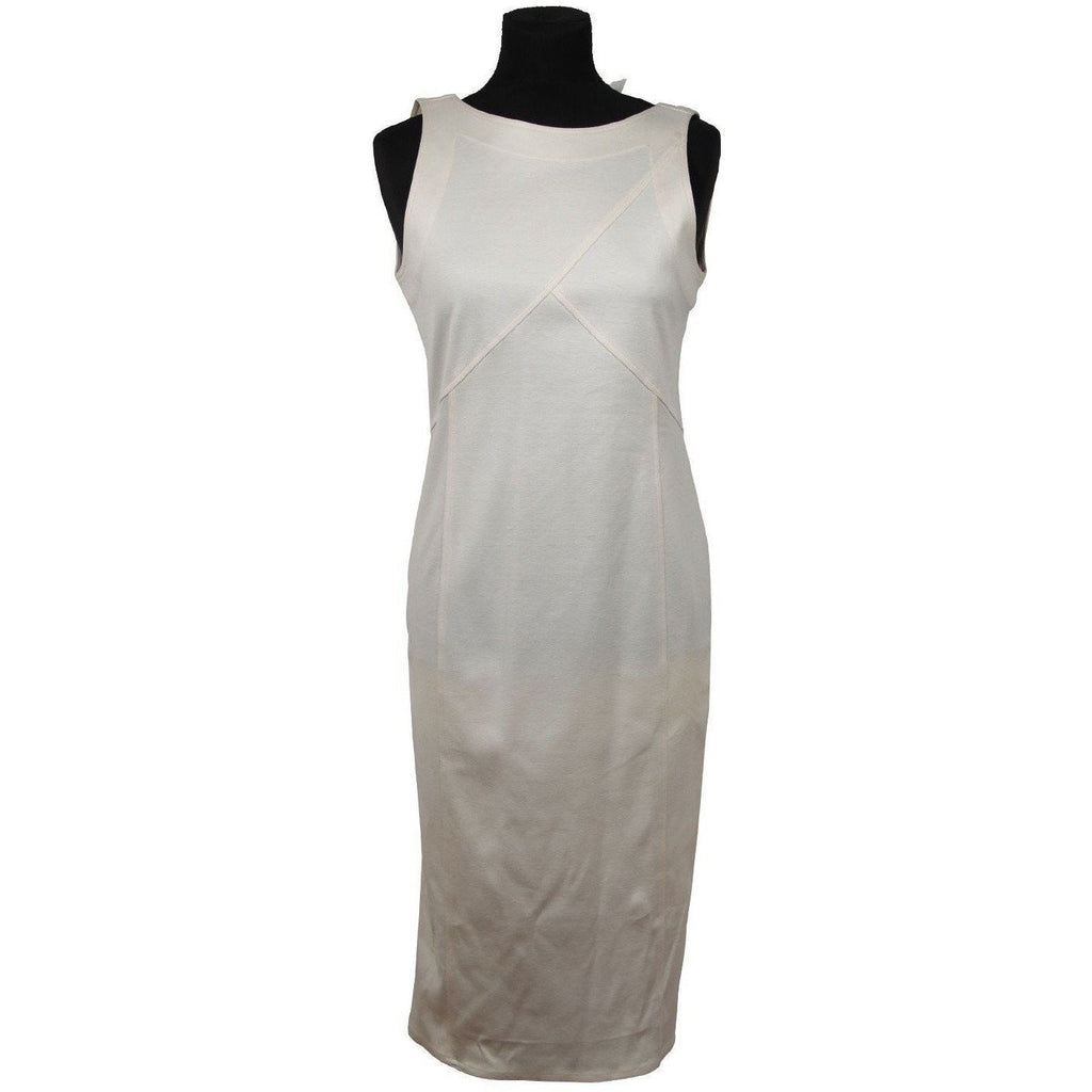 Basile Vintage White Cotton Sleeveless Sheath Dress Size 42 Opherty & Ciocci