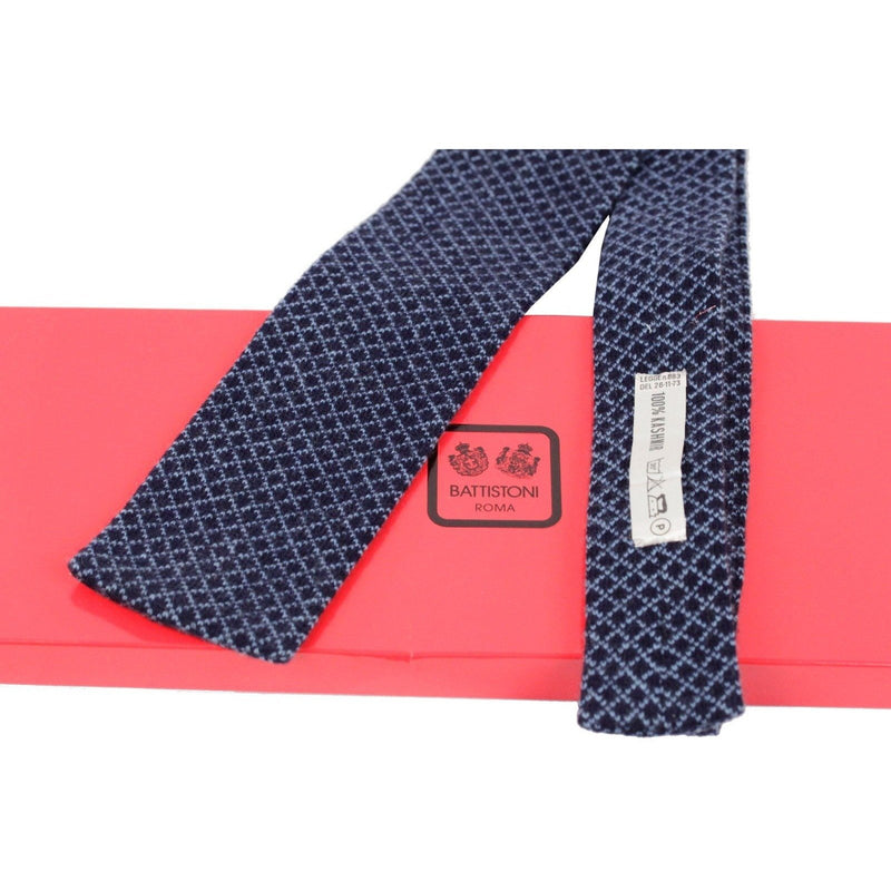ZZ_BATTISTONI Blue Pure Cashmere Knitted NECK TIE Diamond Pattern RR - OPHERTYCIOCCI