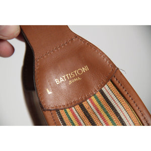 Battistoni Roma Vintage Canvas & Leather Waist Belt Size 70 Opherty Ciocci
