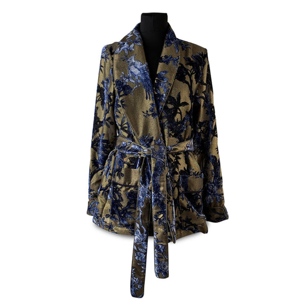 For Resteless Sleepers FRS Blue Gold Metallic Floral Belted Blazer Size M