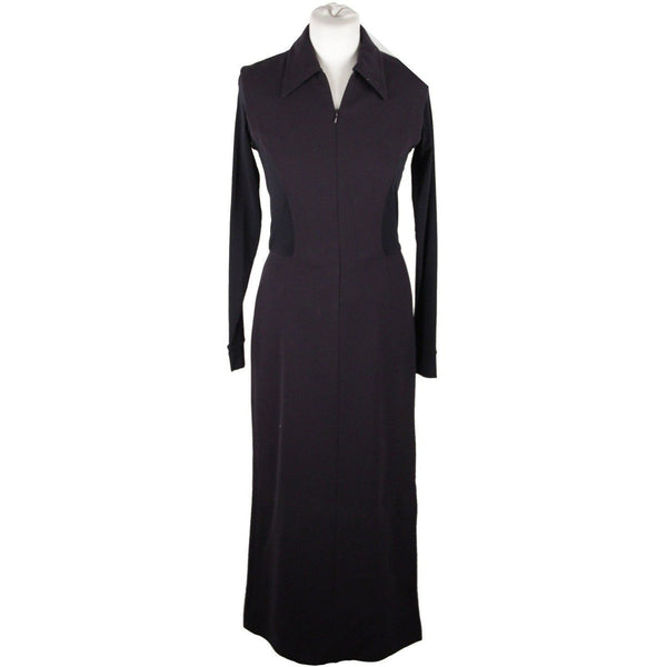 Donna Karan Blue Long Sleeve Zip Front Maxi Dress Size 6 - OPHERTY & CIOCCI