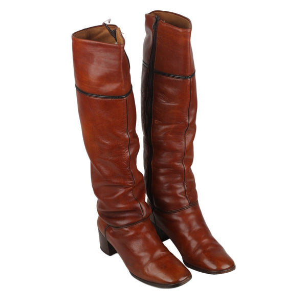 Hermes Vintage Brown Leather Heeled Boots Shoes