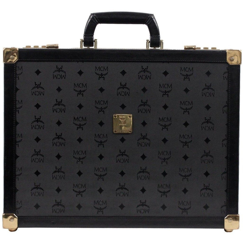 Mcm Munchen Black Canvas and Leather Briefcase Attache Men Travel Bag