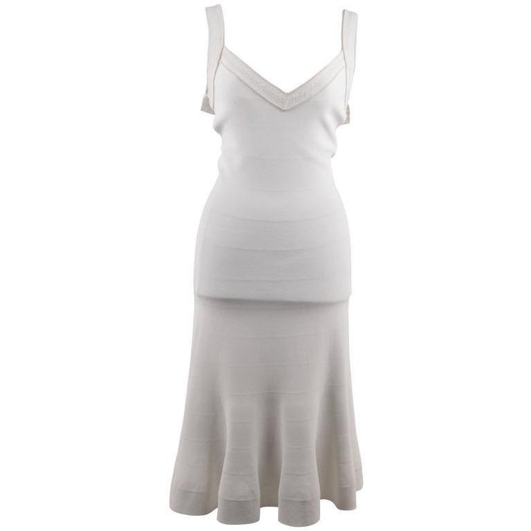 Azzedine Alaia White Stretch Fit & Flare Sleeveless Midi Dress