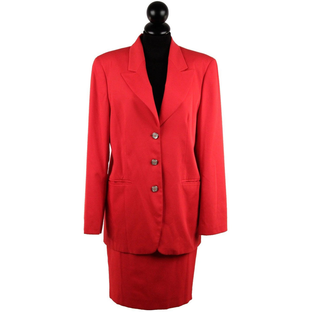 BEAR'S BAZAR LAURA BIAGIOTTI Vintage Red SUIT Blazer & Pencil Skirt SIZE 6-8
