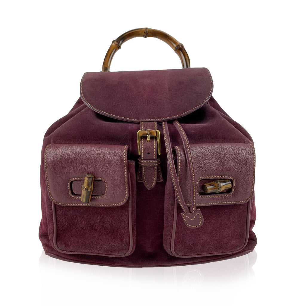 Gucci Vintage Purple Suede Leather Bamboo Backpack Bag