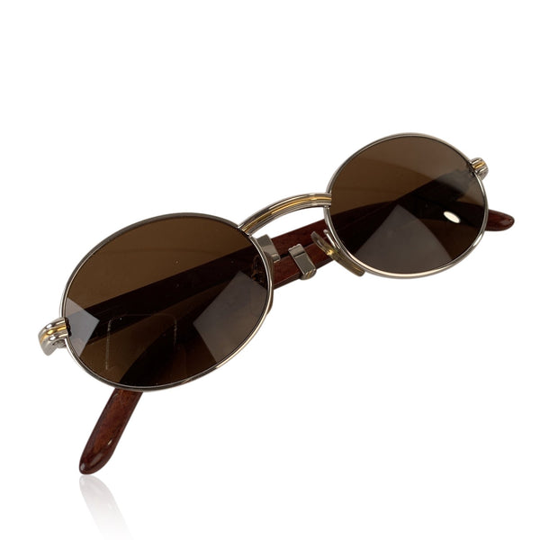 Cartier Paris Platinum Gold & Wood Mint Sunglasses SULLY Bubinga 49/20