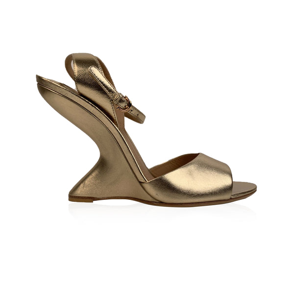 Salvatore Ferragamo Gold Leather Arsina Wedge Sandals US 7C EU 37.5