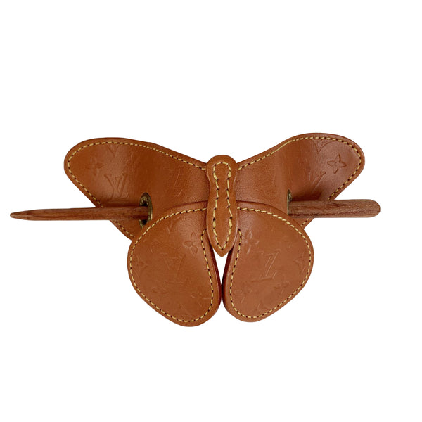 Louis Vuitton Monogram Leather Butterfly Hair Pin Barette