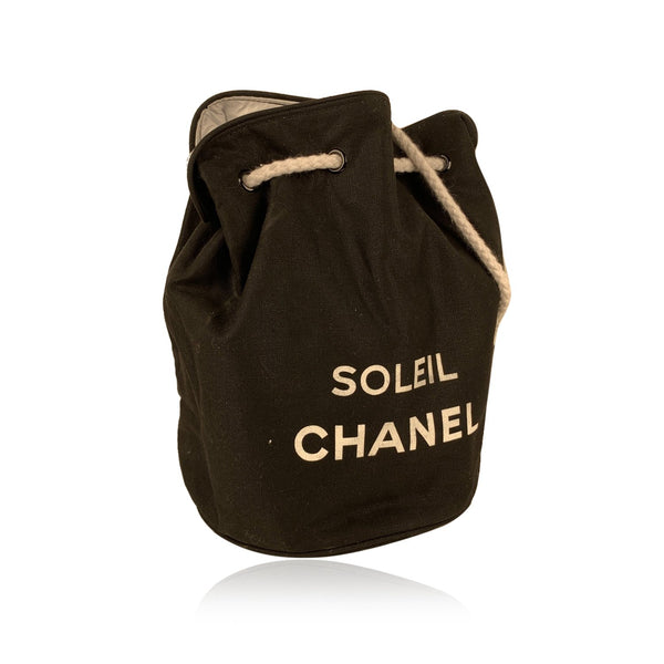 Chanel Soleil Black Cotton Drawstring Bucket Shoulder Bag