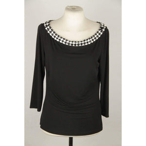 Blumarine Black Jersey Long Sleeve Top With Beads Size 42 Opherty & Ciocci