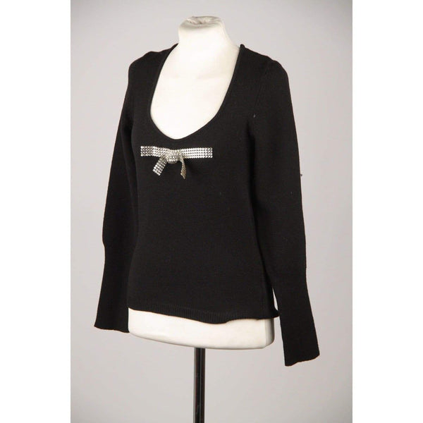 Blumarine Black Long Sleeve Jumper With Rhinestone Bow Size 42 Opherty & Ciocci