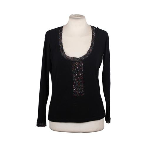 BLUMARINE Black LONG SLEEVE TOP Jumper wIth Rhinestones Size 42