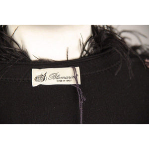 Blumarine Black Viscose Cropped Cardigan With Feather Trim Size 44 Opherty & Ciocci