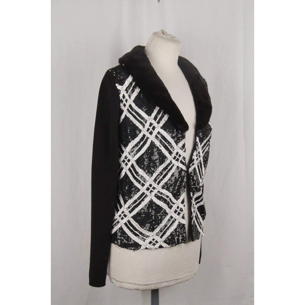 Blumarine Black & White Sequinned Cardigan Size 44 Opherty & Ciocci
